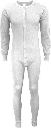Indera - Mens Long Sleeve Union Suit, White, 860 19257-Small