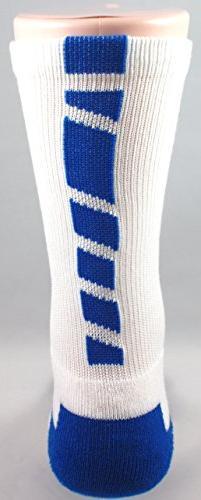 NEW! 2 Pack - White Royal Blue Sports Socks Size 3-9