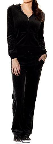 A.S Juniors Veloure Jacket & Pants Tracksuit Set-Black-