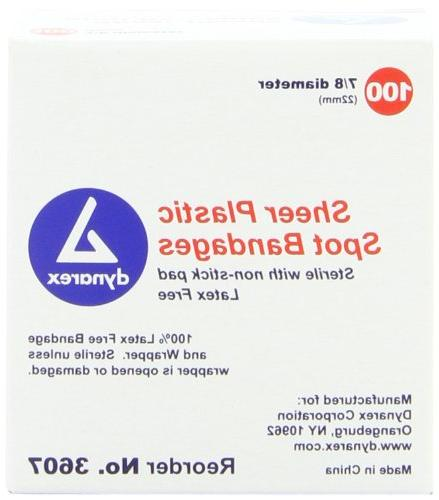 Dynarex Adhesive Sheer Spot Bandage, 7/8 Inches, 100 Count