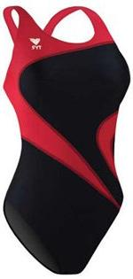TYR Adult Alliance T-Splice Maxback Swimsuit, Black/Burgundy