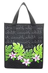 "Aloha Plumeria Small Insulated Tote Bag 8"" X 9"