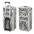 3 in 1 Aluminum Zebra Pro Rolling Makeup Case Salon Cosmetic