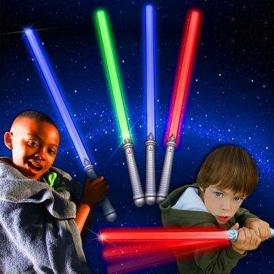 LED Assorted Colors Glow in the Dark Kids Light Sabers  Bulk