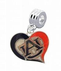 Auburn Tigers Swirl Heart Charm with Connector - Universal