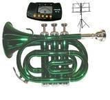 Merano B Flat Green Pocket Trumpet with Case+Metro Tuner+