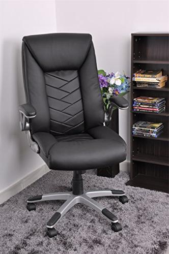 Black Pu Leather High Back Office Chair Executive Task