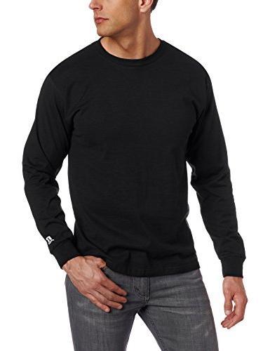 Men's Basic Cotton Long Sleeve Tee, Oxford, Medium