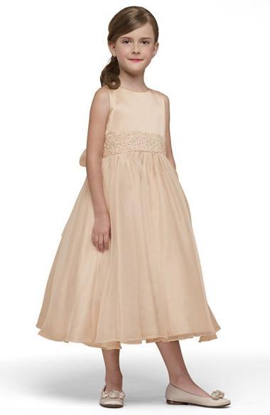 Girl's Us Angels Beaded Satin Sleeveless Dress, Size 12 -