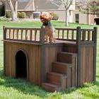 Outdoor Dog House Small Bed Wooden Shelter Puppy Wood Kennel