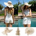 Beige Women Lady Wide Brim Straw Hat Floppy Foldable Summer