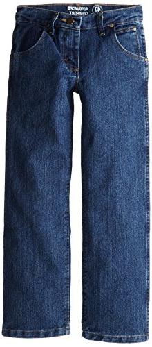 Wrangler Big Boys' Advanced Comfort Jeans, Stone Bleach, 10