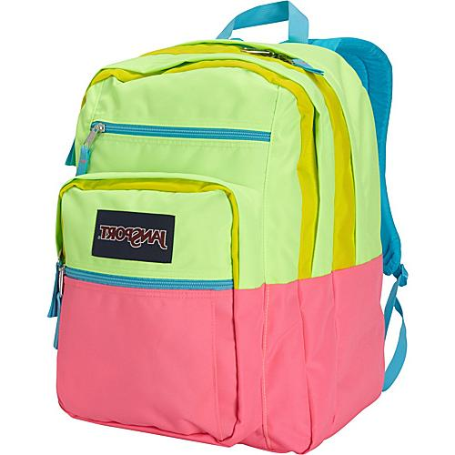 JanSport Big Student Backpack Fluorescent Pink / Yellow Card