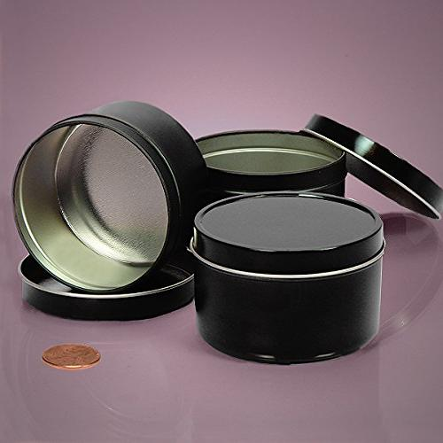8 OZ BLACK DEEP ROUND TIN CAN-24/PACKAGE