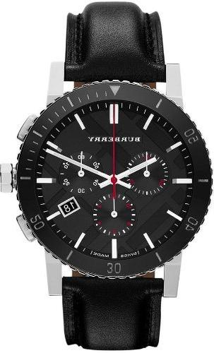 Burberry Black Dial Chronograph Black Leather Mens Watch