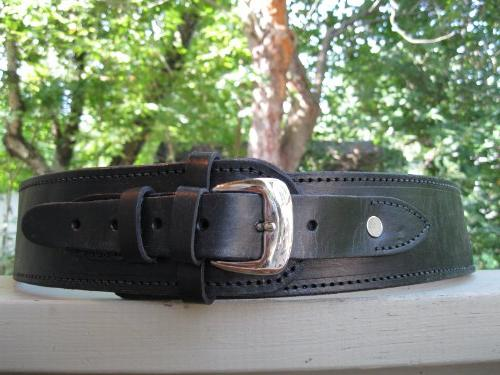 "36"" Black Genuine Leather .38 Caliber Cartridge Gun Belt"