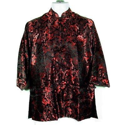 Black Red Dragon Brocade Kung Fu Jacket, Size L