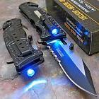 TAC-FORCE Black SHERIFF Spring Assisted Open LED Tactical