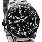SHARK ARMY Black Silver Date Day Stainless Steel Quartz