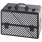 "Beautify Large Black 14"" Train Case Cosmetic Makeup"