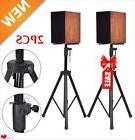 2 x Black Tripod DJ PA Speaker Stands Steel Frame Universal