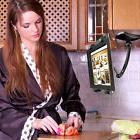 """Black Universal Tablet Cookbook Stand Mount Holder for 7""""-11"""