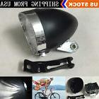 Black Vintage Bicycle Bike 3 LED Retro Headlight Front Light