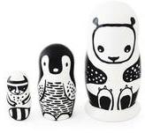 Wee Gallery Black & White Animals Nesting Dolls - Panda,