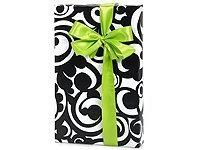 Black & White BOLD SCROLL Damask Gift Wrapping Paper - 16