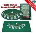 """Blackjack Layout 36""""x 72"""" Table Top Green Mat Portable Felt"""