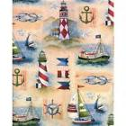 BOAT & LIGHTHOUSE GIFT WRAPPING PAPER -Two 6 Ft Sheets