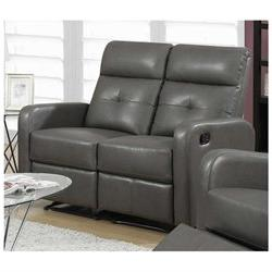 Monarch Bonded Leather Love Seat Charcoal Grey