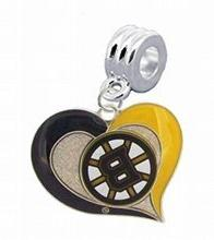 Boston Bruins Swirl Heart Charm with Connector - Universal