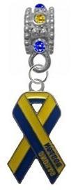 Boston Strong Blue & Yellow Ribbon BLUE/YELLOW Rhinestone/