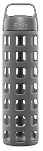 Ello Pure BPA-Free Glass Water Bottle with Lid, Pink Fizz,