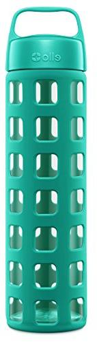 Ello Pure BPA-Free Glass Water Bottle with Lid, Teal Squares