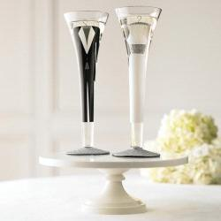 Mud Pie Bride And Groom Champagne Flute Set