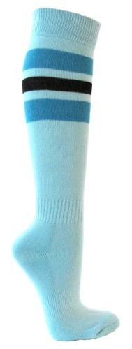 Couver Bright Blue/Black Strip on Light Sky Blue Knee High