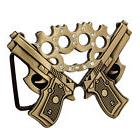 Bronze Double Gun & Jeweled Brass Knuckles Belt Buckle Guns