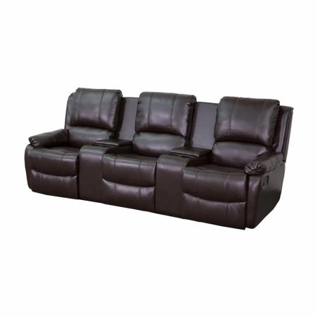 Brown Leather Pillowtop 3-Seat Home Theater Recliner with