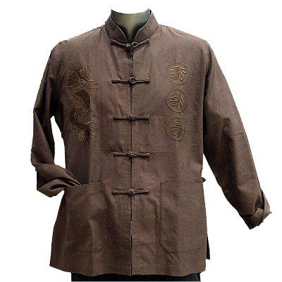 Brown Linen Dragon Kung Fu Jacket, Size S