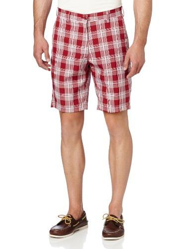 Haggar Men's C18 Sport Check Short,Dark Red,34