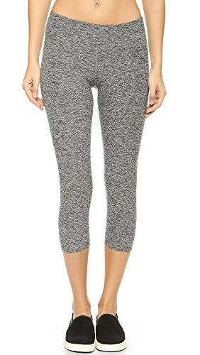 Women's Capri Legging with Shirred Cuff, Rich Black/Poppy,