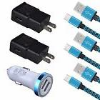 Car Charger+2x Wall Adapter+3x Braided USB C Cable for