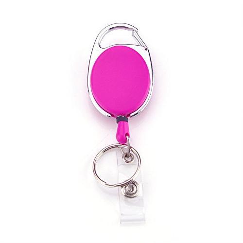 Carabiner Badge Holder Reels With Back Splint & Key Ring,