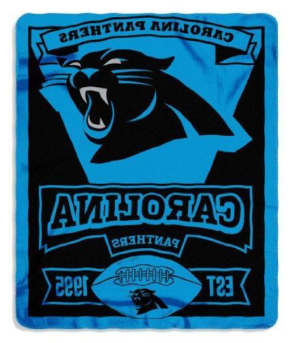 NFL Carolina Panthers Marque Printed Fleece Throw, Black, 50