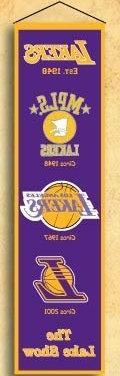 "Caseys Los Angeles Lakers Wool 8""x32"" Heritage Banner"