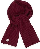 Moncler Men's Cashmere Ribbed Scarf, Burgundy