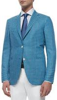 Ermenegildo Zegna Check Wool-Silk Two-Button Jacket, Blue