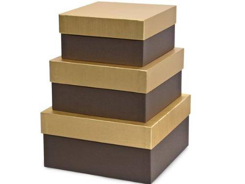 CHOCOLATE EMBOSSED Nested BoxesLARGE 3 Piece Square Gift